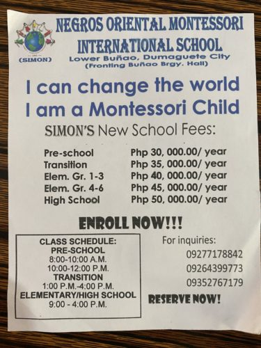 ドゥマゲテのモンテッソーリ教育の学校「サイモン」Negros Oriental Montessori International School (SIMON)