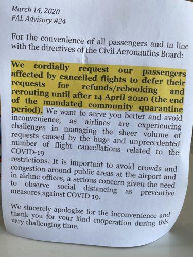 フィリピン航空マニラ発フライトをキャンセル